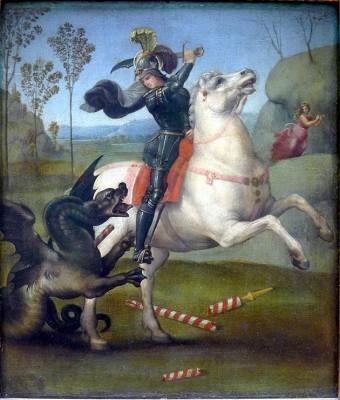 São Jorge lutando contra o dragão
