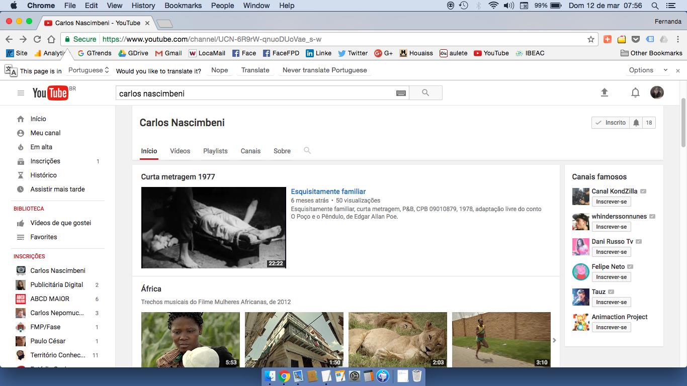 Capa do Canal YouTube do Carlos Nascimbeni