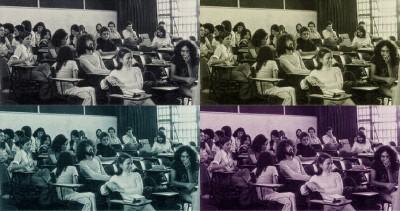 Raghy e colegas na sala de aula da ECA