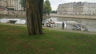 Pintor contemplando o rio Sena
